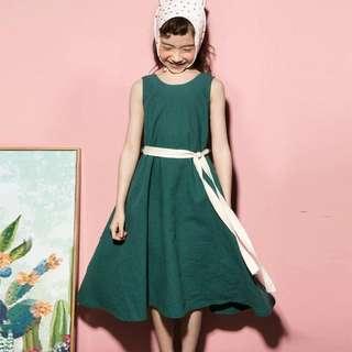 預購「110-165碼中大女童」純色素面森林系無袖洋裝童裝