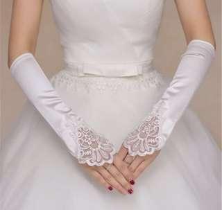 💐 Wedding White Bridal Gloves - White Satin With Beads