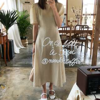 Grid Midi Dress Ulzzang Bubble Sleeves