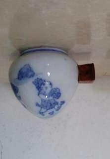 古典青花手繪畫眉雀陶瓷雀杯