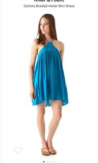 Riller and Fount turquoise vacation beach halter coverup dress xs s