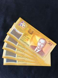 CIA Singapore $50 Commemorative With 5 Run