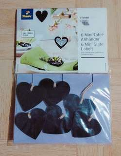 6 Mini Heart Slate Labels