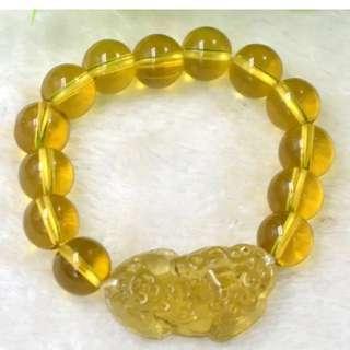 黃晶貔貅珠手鏈,招財,辟邪轉運