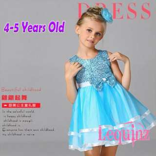 Last pc Special Offer ! Shimmering Girls Dress Sky Blue
