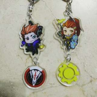 Overwatch Moira and Brigitte keychains (sparkle)