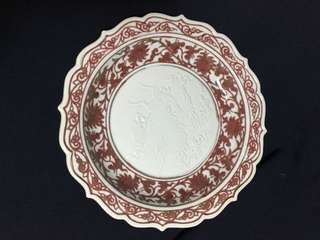 Ming dynasty Yong Le period made copper red plate 28cm diameter with linked lotus n veiled auspicious animal. 大明永楽年期釉丽红豌龍纹和魚。