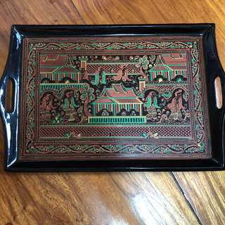 Hand painted trays from myanmmar