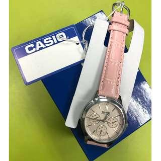 Casio ladies pink leather Analog Quartz watch LTP-V300L-4A