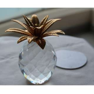 Swarovski Silver Crystal golden pineapple (021)