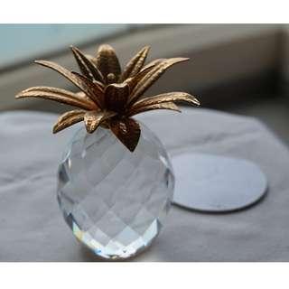 Swarovski Silver Crystal golden pineapple (021)