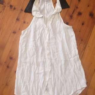 BARDOT - White Sleeveless shirt with Black Collar 100% Viscose