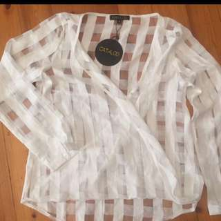 CATALOG - Size 10 White Sheer Check Shirt (New)