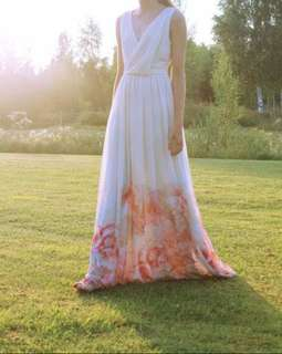 Mango White Floral Bridesmaid Summer Dress