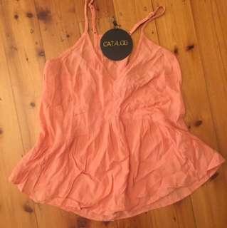 CATALOGUE - Size 8 Peach Singlet Rayon/Viscose (New)