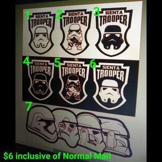 Sienta Trooper Stickers