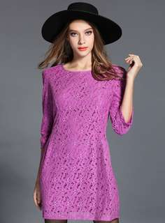 Casual: Purple Charming Round Neck Floral Lace Slim Dress (L / 2XL / 3XL / 4XL) - OA/HZC070634