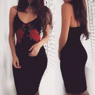 FREE POSTAGE READY STOCK Rose embroidery bodycon dress