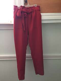 Red paper bag trousers
