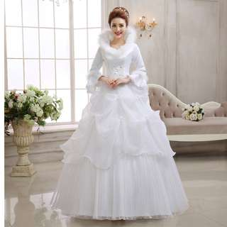 Wedding Collection - Amazing Snow Queen Winter Long Sleeves Design Puffy Wedding Gown (Plus sizes available)