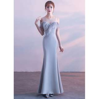 Gown Collection - Noble Fury Tassels Transparent Shoulder Design Event Gown