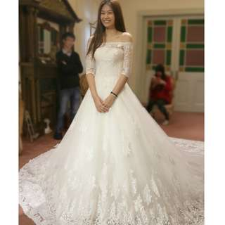 Wedding Collection - Mid Length Sleeves Off Shoulder Design Embroidered Long Tail Wedding Gown
