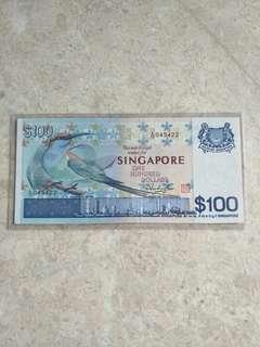SINGAPORE $100 BIRD A/13 045422