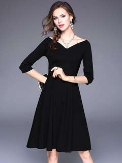 Formal: Black Quality V-Neck Slim Waist Mid-Sleeve A-Line Dress (S / M / L / XL) - OA/XKE042215
