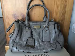Authentic Burberry Pebbled Leather Grey