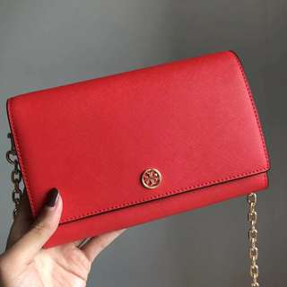 Tory Burch Robinson Wallet On Chain - red