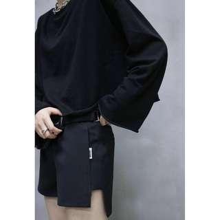 VM 原創 簡約基本款 西裝料 顯瘦黑色接拼西裝短褲