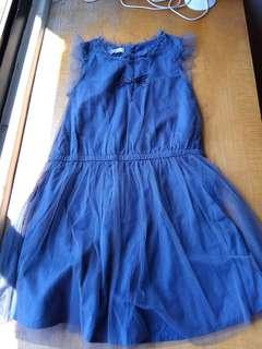 出清!zara女童藍灰色紗質珠珠洋裝