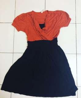 Dress Hitam - Orange