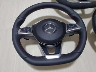 Mercedes W205 C class sports steering wheel with red stitch with AMG airbag