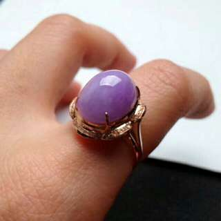 🍍18K Gold - Grade A 冰糯 Lavender Cabochon Jadeite Jade Flower Ring💟