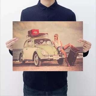 Vintage Car Kraft Paper Poster