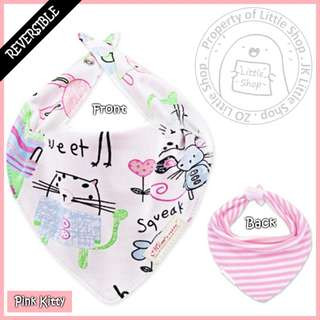 100% Cotton Mom's Care Baby Reversible Drool Bibs - Pink Kitty