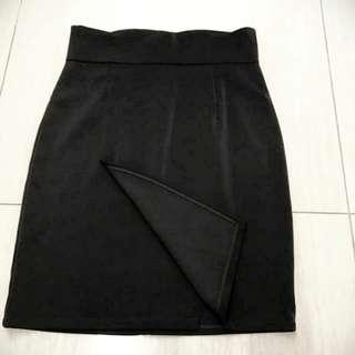 BN black overlap pencil skirt