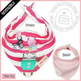 100% Cotton Mom's Care Baby Reversible Drool Bibs - Pink Pet