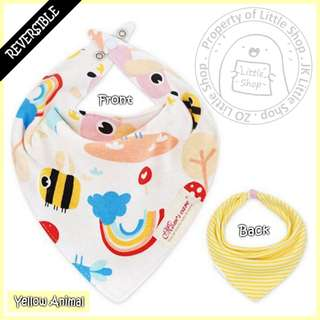 100% Cotton Mom's Care Baby Reversible Drool Bibs - Yellow Animal