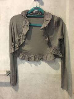 Kookai grey cardigan with ruffle details