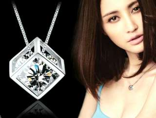 Sterling Silver Classic Crystal Cube Pendant W Necklace