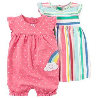 READY STOCK 3-Piece Dress & Romper Set