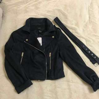 New !! Navy Blue Faux Suede Jacket