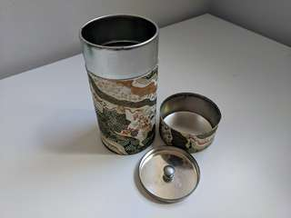 T2 Japanese Made Washi Paper Tea Storage Container with two lids