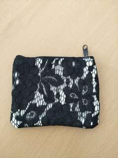 Black lace pouch