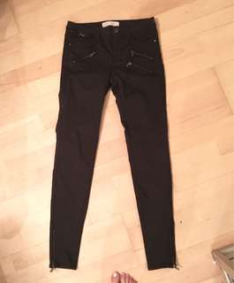 Zara Dark Grey Zipper Detail Pants