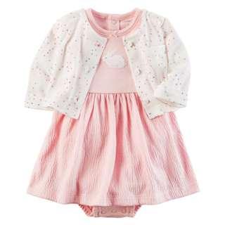 READY STOCK 2-Piece Bodysuit Dress & Cardigan Set