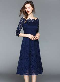 Formal: Blue Charming Boat Neck Lace A-Line Dress (S / M / L / XL / 2XL / 3XL) - OA/HHE041128