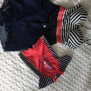 Stripe one piece & denim shirt set